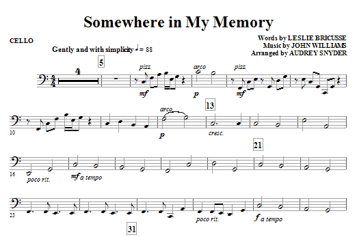 John Williams Somewhere in My Memory (arr. Audrey Snyder) - Cello sheet music notes and chords