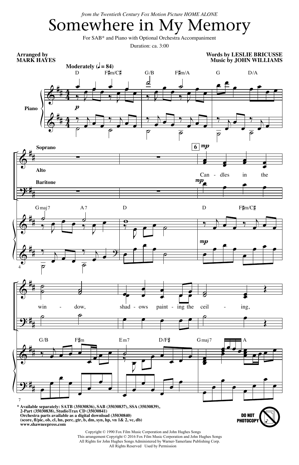 John Williams Somewhere In My Memory Arr Mark Hayes Sheet Music Pdf Notes Chords Children Score 2 Part Choir Download Printable Sku 166742