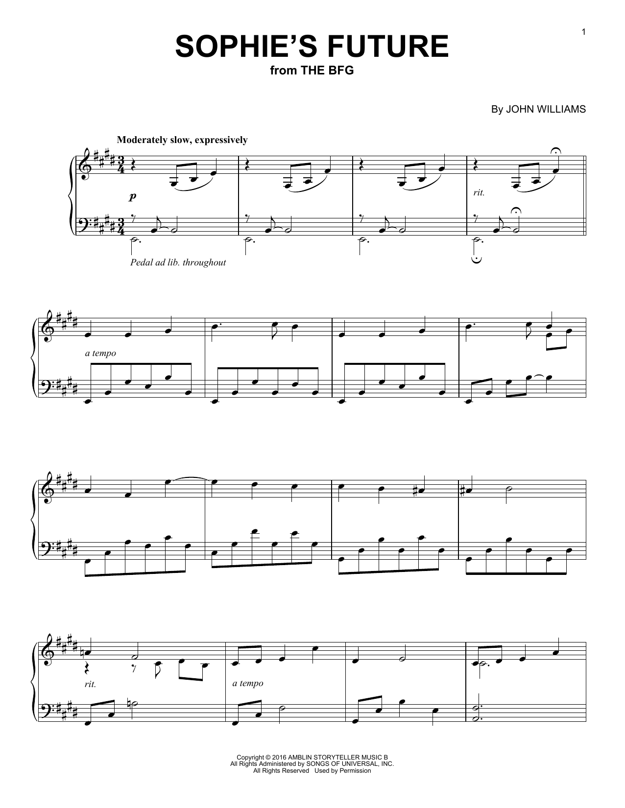 John Williams Sophie's Future sheet music notes and chords. Download Printable PDF.