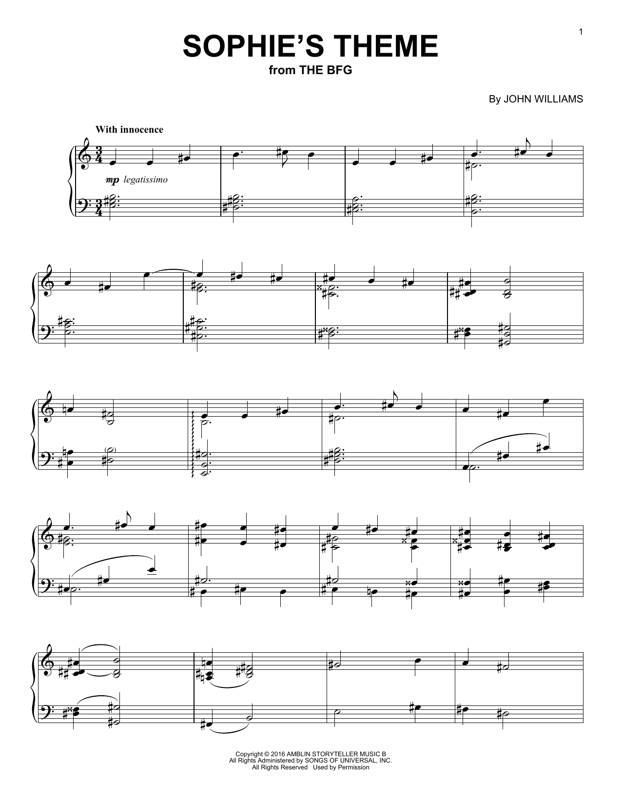 John Williams Sophie's Theme sheet music notes and chords