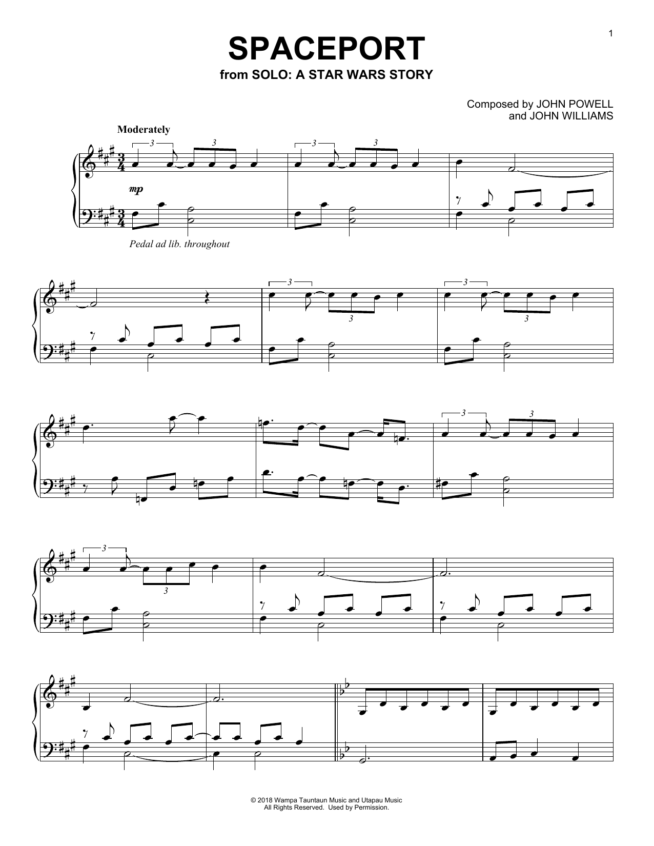 John Williams Spaceport sheet music notes and chords