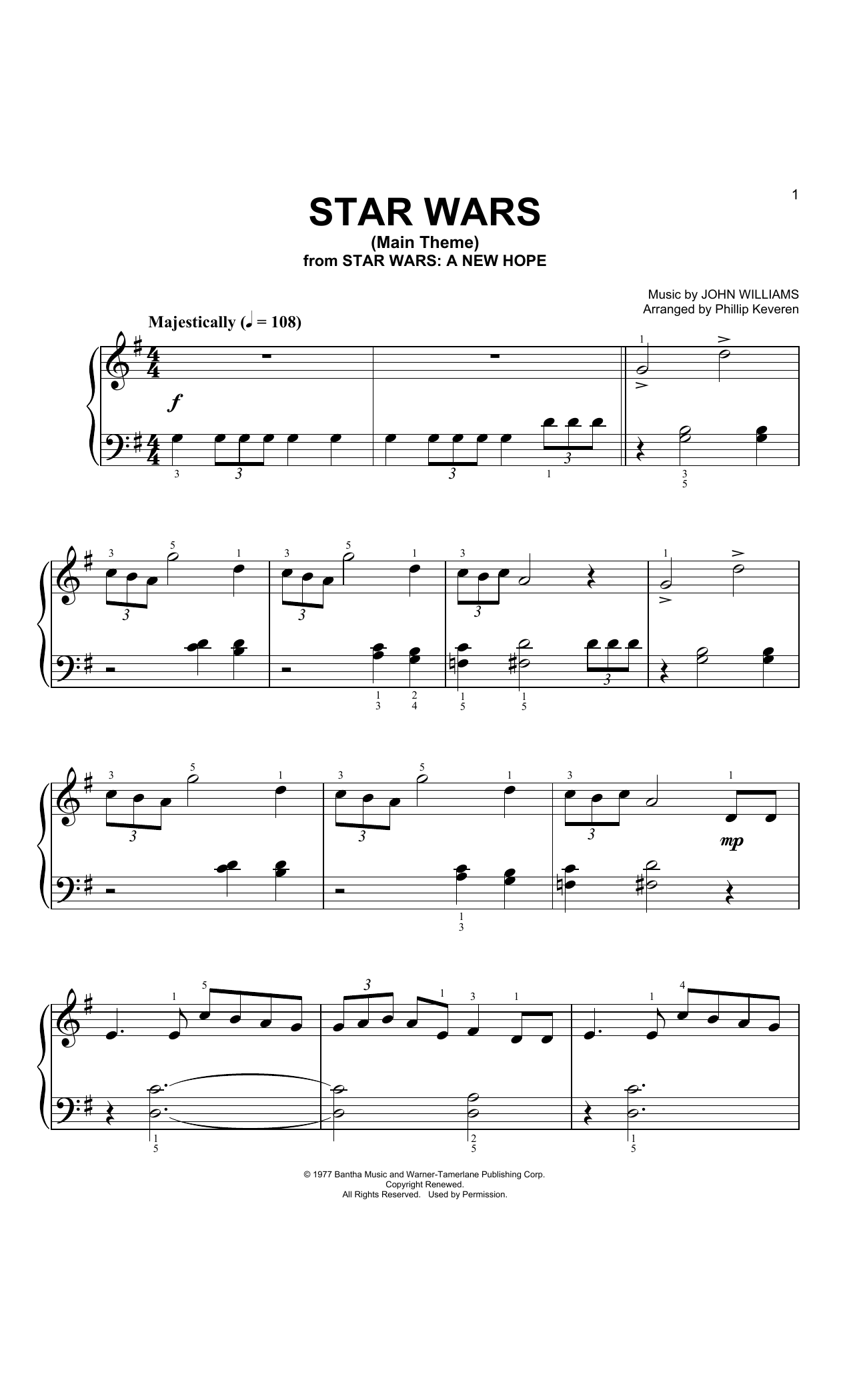 John Williams Star Wars Main Theme (Arr. Phillip Keveren) sheet music notes and chords. Download Printable PDF.