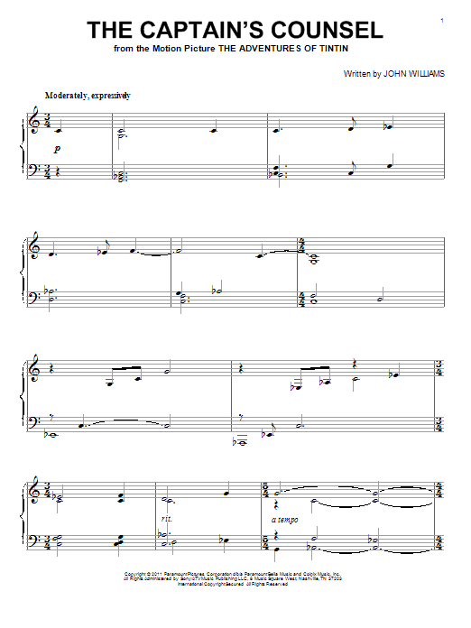 John Williams The Captain's Counsel sheet music notes and chords. Download Printable PDF.