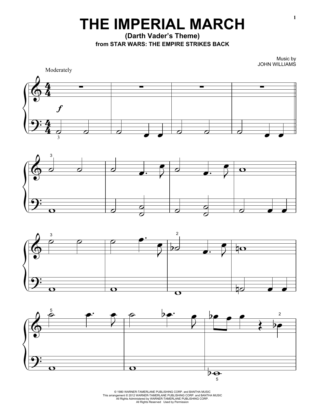 John Williams The Imperial March (Darth Vader's Theme) sheet music notes and chords. Download Printable PDF.