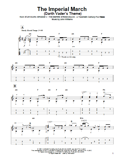 Ben Woolman The Imperial March (Darth Vader's Theme) sheet music notes and chords. Download Printable PDF.
