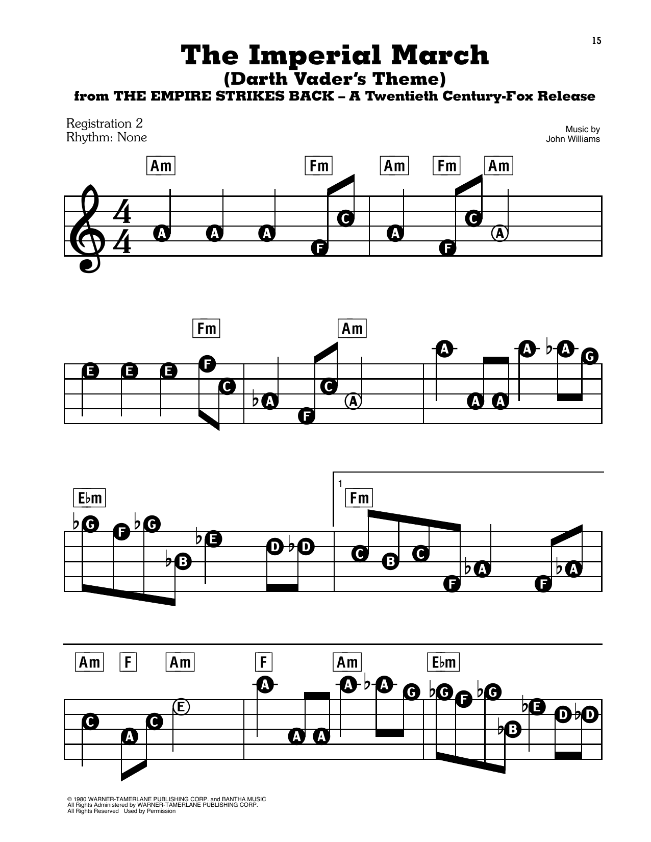 John Williams The Imperial March (Darth Vader's Theme) (from Star Wars: The Empire Strikes Back) sheet music notes and chords. Download Printable PDF.
