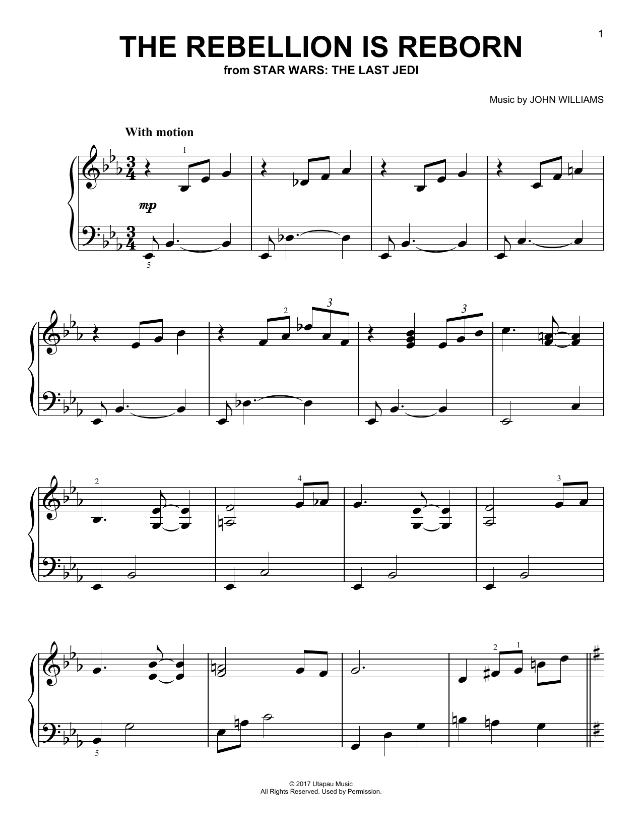 John Williams The Rebellion Is Reborn sheet music notes and chords. Download Printable PDF.