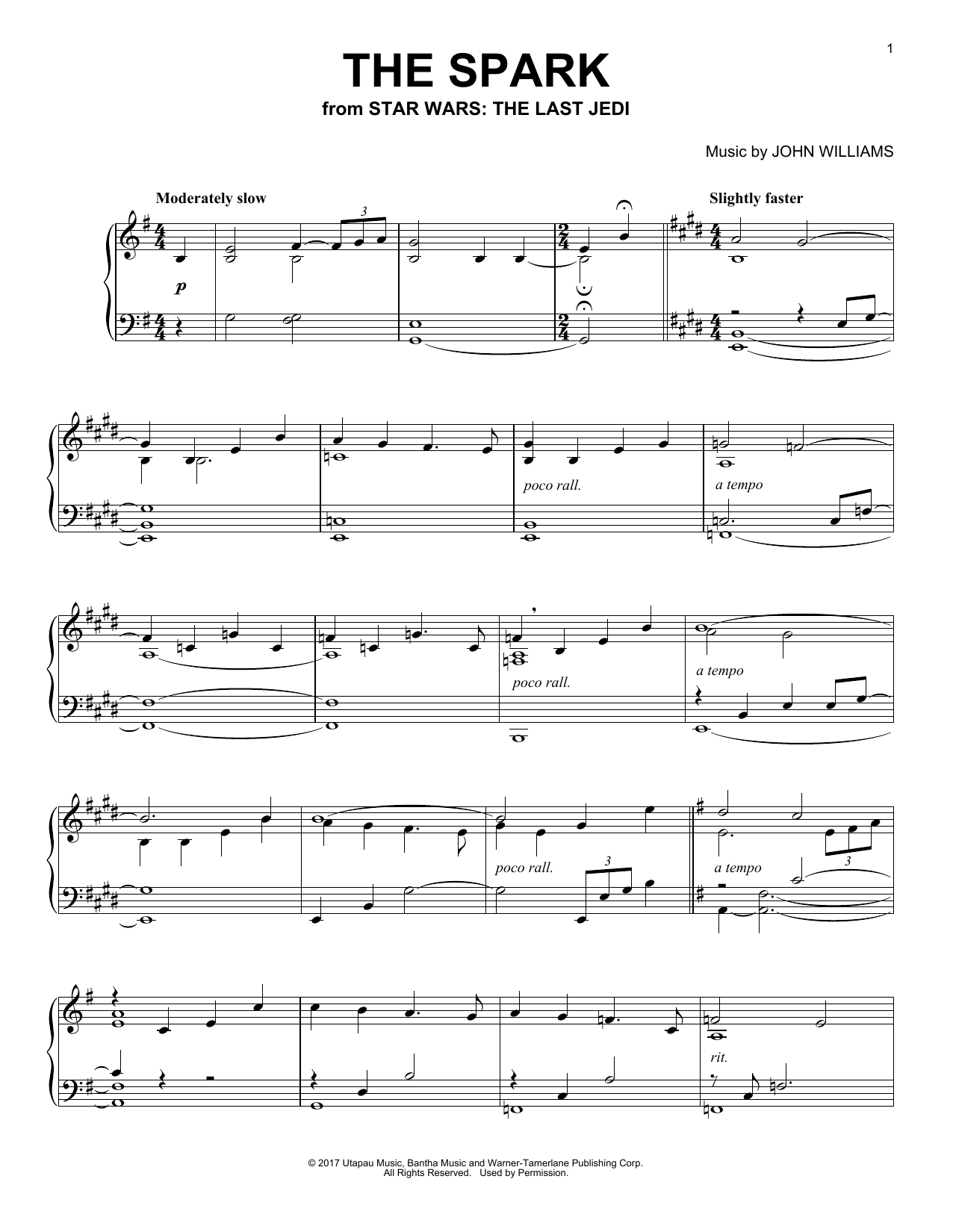 John Williams The Spark sheet music notes and chords. Download Printable PDF.