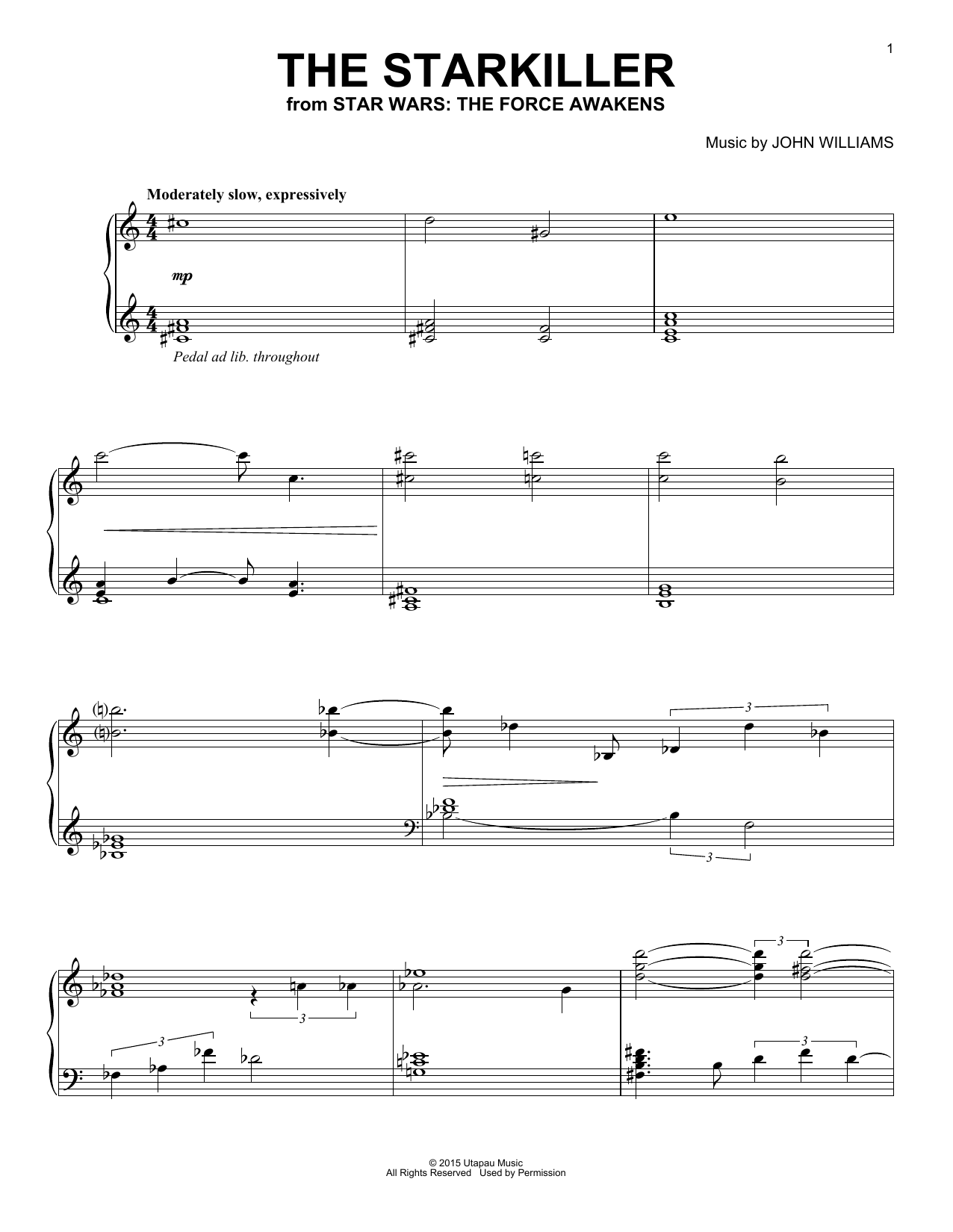 John Williams The Starkiller sheet music notes and chords. Download Printable PDF.