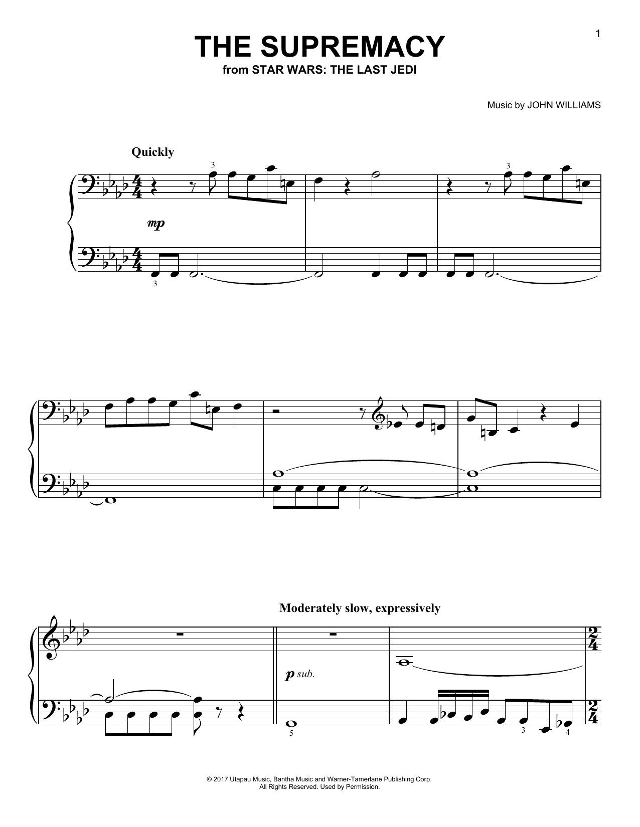 John Williams The Supremacy sheet music notes and chords. Download Printable PDF.