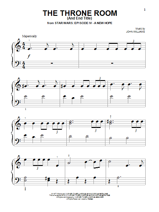 John Williams The Throne Room (And End Title) sheet music notes and chords. Download Printable PDF.