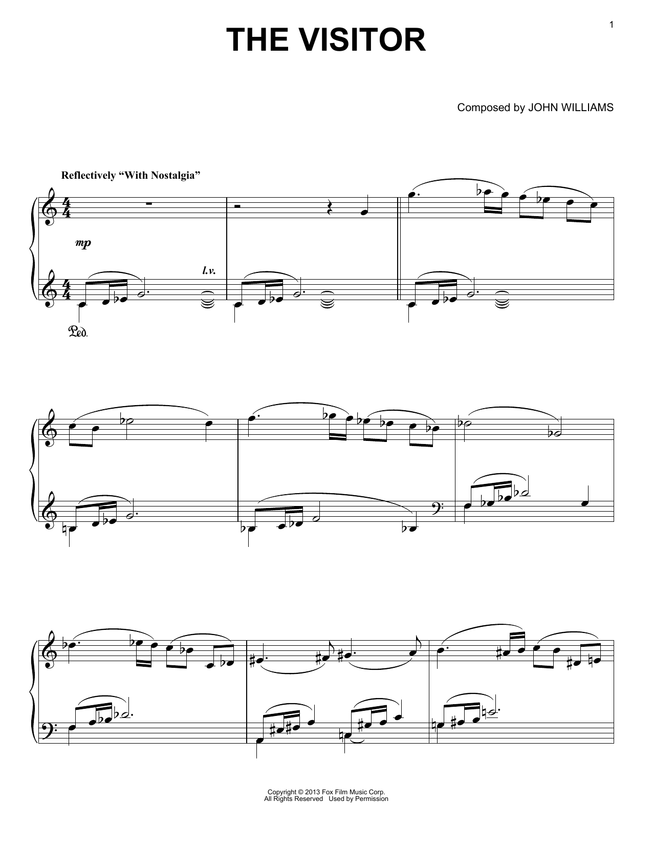 John Williams The Visitor sheet music notes and chords