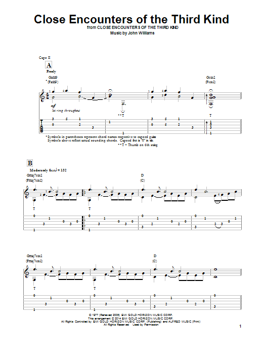 Ben Woolman Theme From Close Encounters Of The Third Kind sheet music notes and chords. Download Printable PDF.