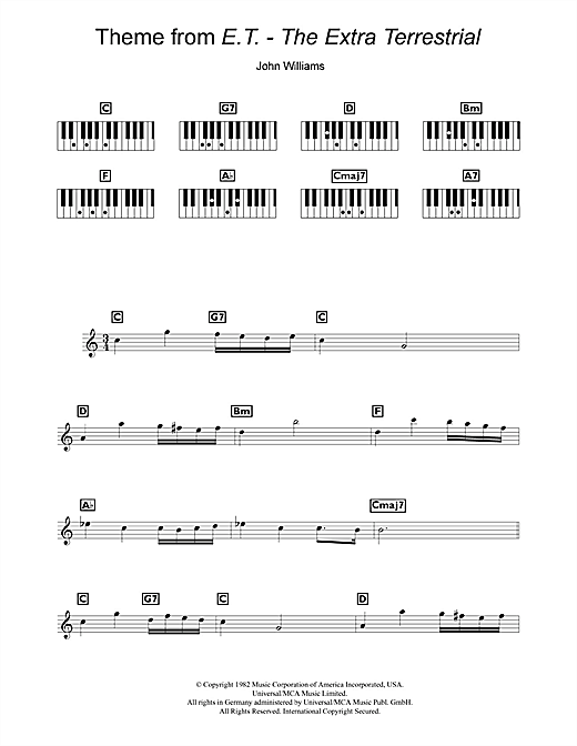John Williams Theme From E.T. - The Extra-Terrestrial sheet music notes and chords. Download Printable PDF.
