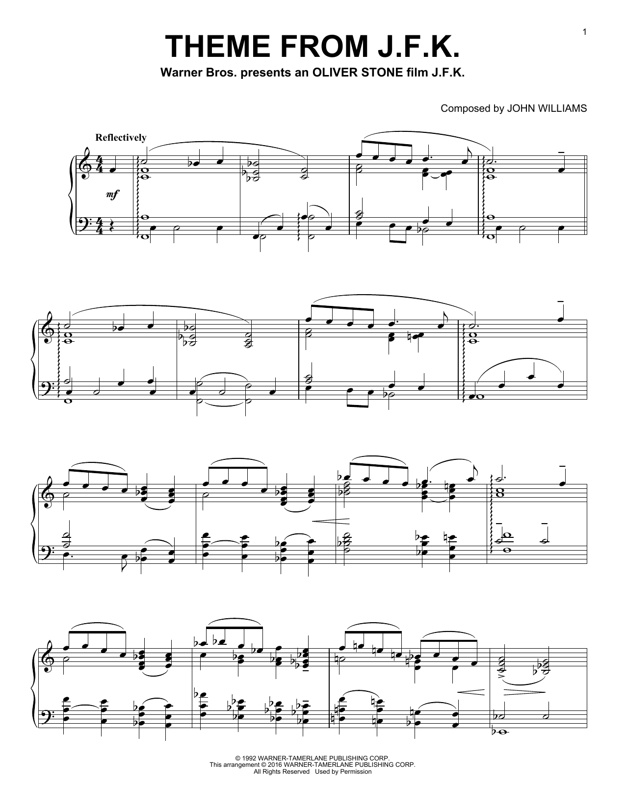 John Williams Theme From J.F.K. sheet music notes and chords. Download Printable PDF.
