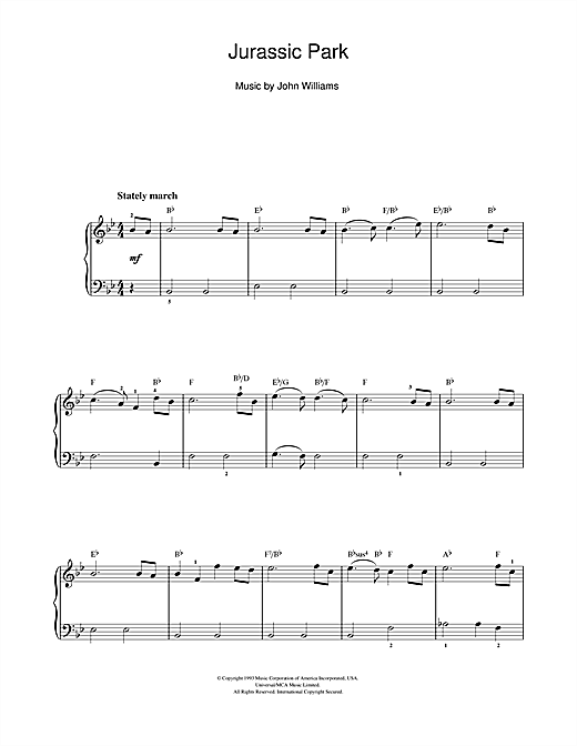John Williams Theme From Jurassic Park sheet music notes and chords. Download Printable PDF.