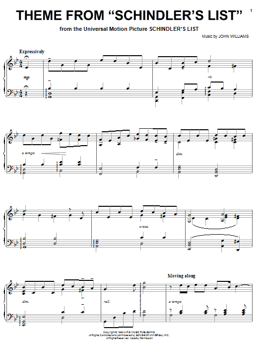 John Williams Theme from Schindler's List sheet music notes and chords. Download Printable PDF.