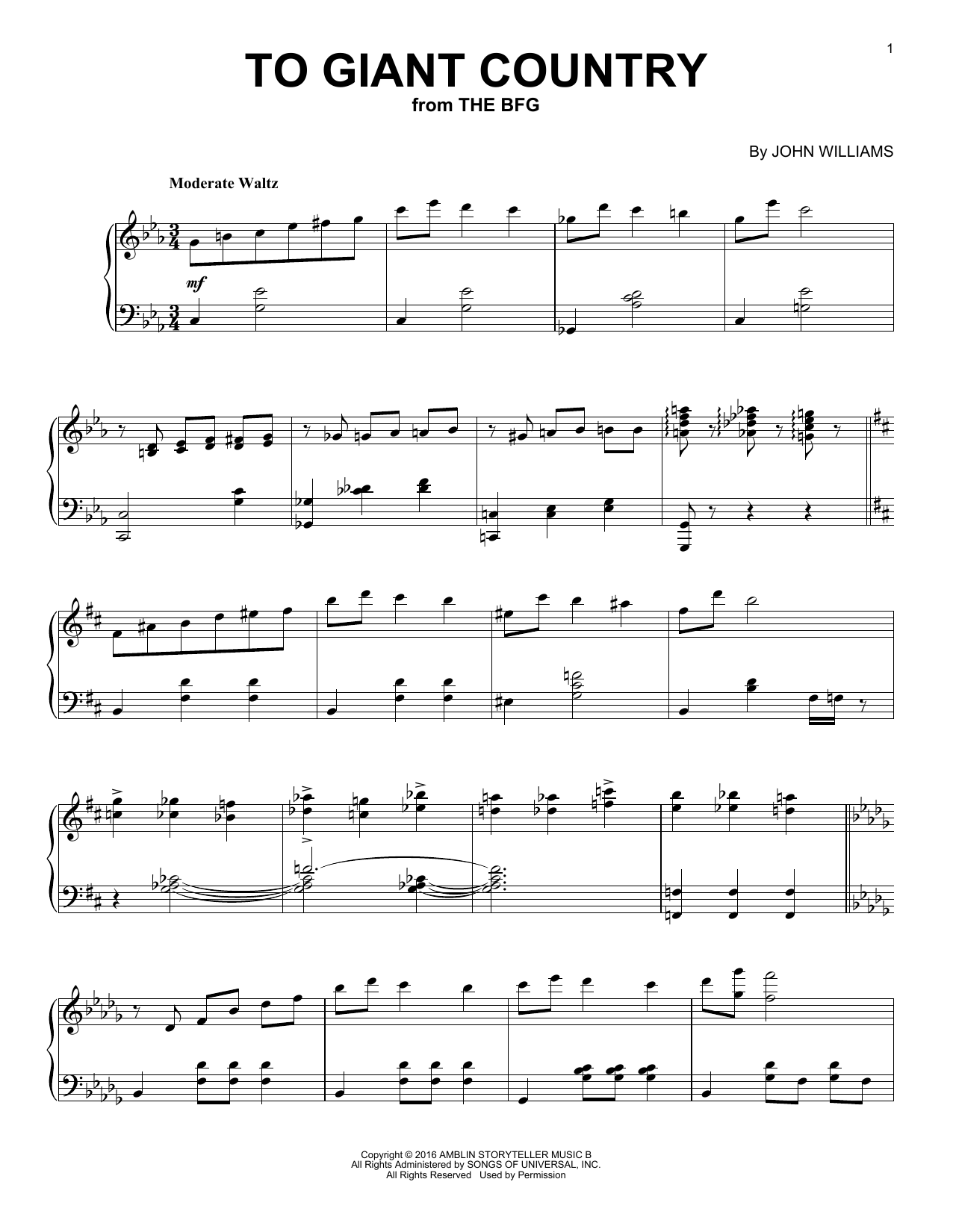John Williams To Giant Country sheet music notes and chords. Download Printable PDF.