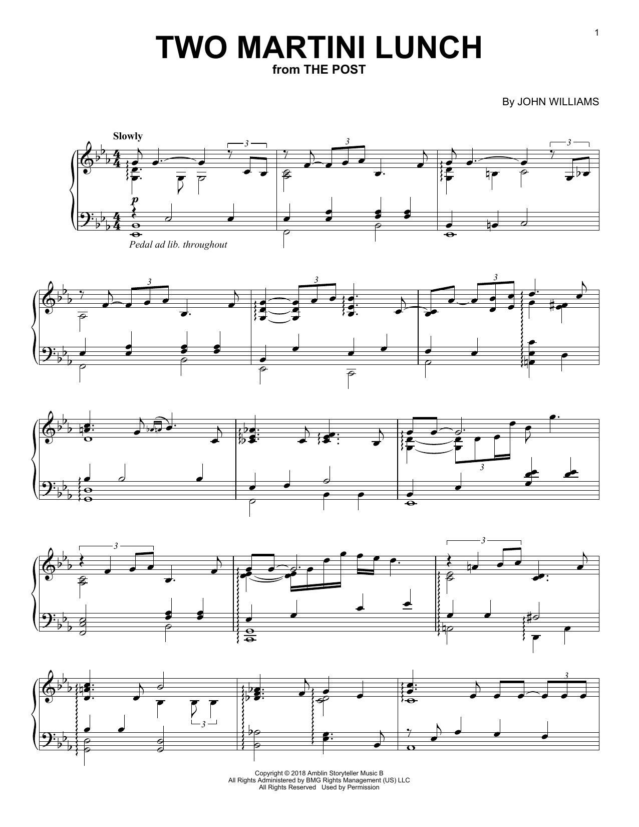 John Williams Two Martini Lunch (from The Post) sheet music notes and chords. Download Printable PDF.