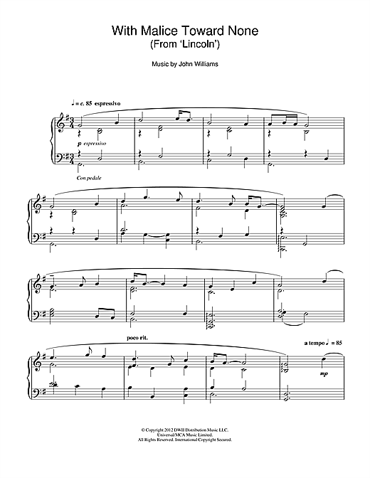 John Williams With Malice Toward None (From 'Lincoln') sheet music notes and chords. Download Printable PDF.