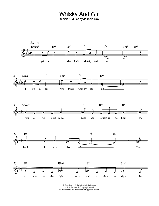 Johnnie Ray Whisky And Gin sheet music notes and chords. Download Printable PDF.