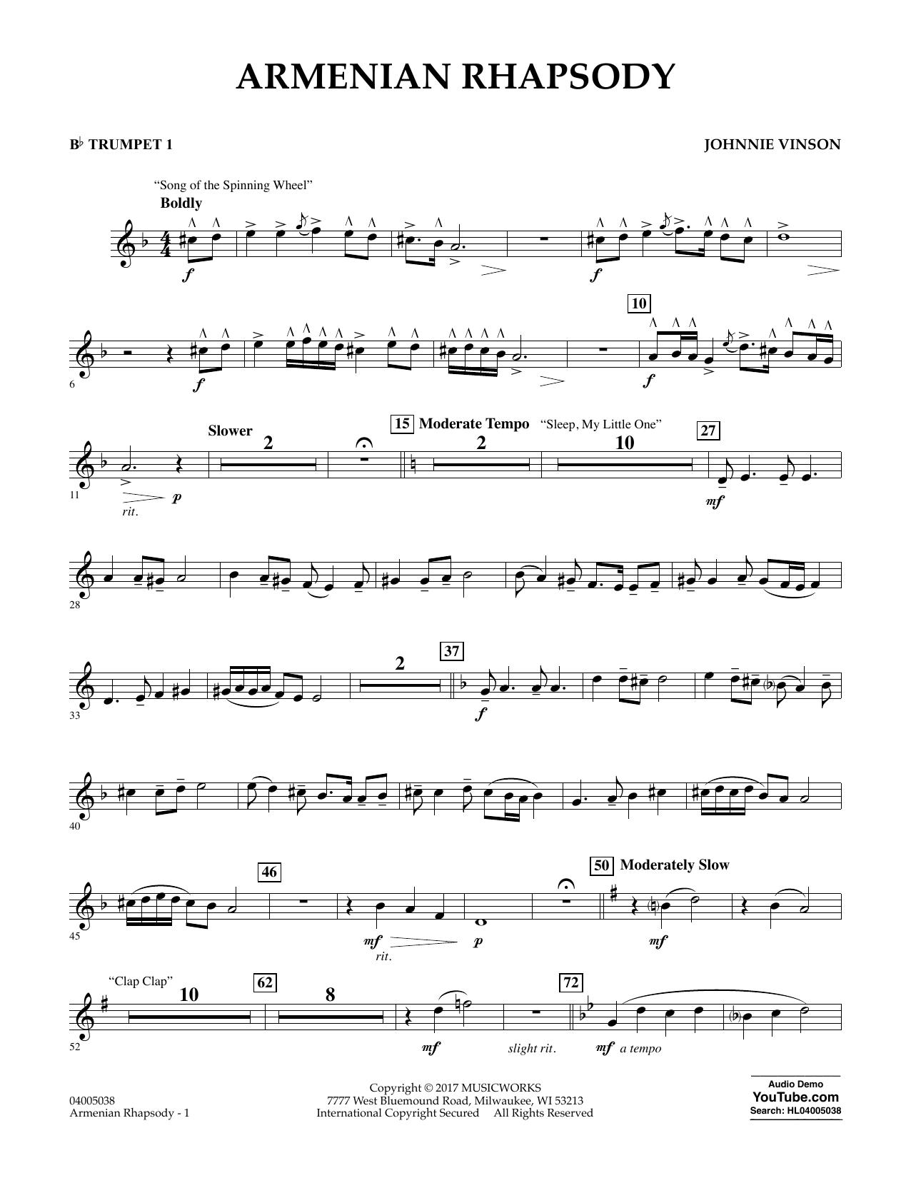 Johnnie Vinson Armenian Rhapsody - Bb Trumpet 1 sheet music notes and chords. Download Printable PDF.
