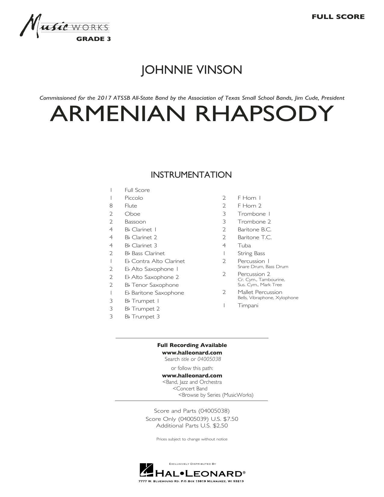 Johnnie Vinson Armenian Rhapsody - Conductor Score (Full Score) sheet music notes and chords. Download Printable PDF.