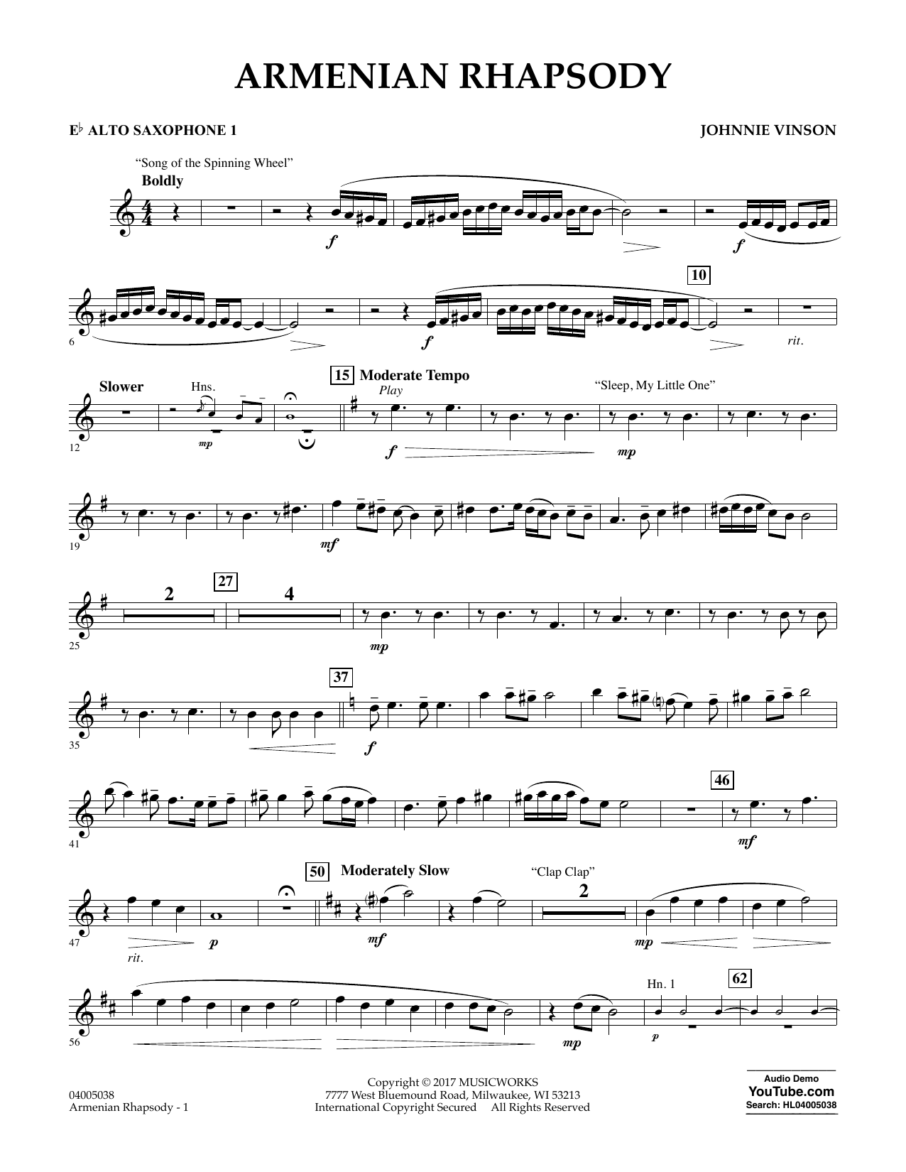 Johnnie Vinson Armenian Rhapsody - Eb Alto Saxophone 1 sheet music notes and chords. Download Printable PDF.
