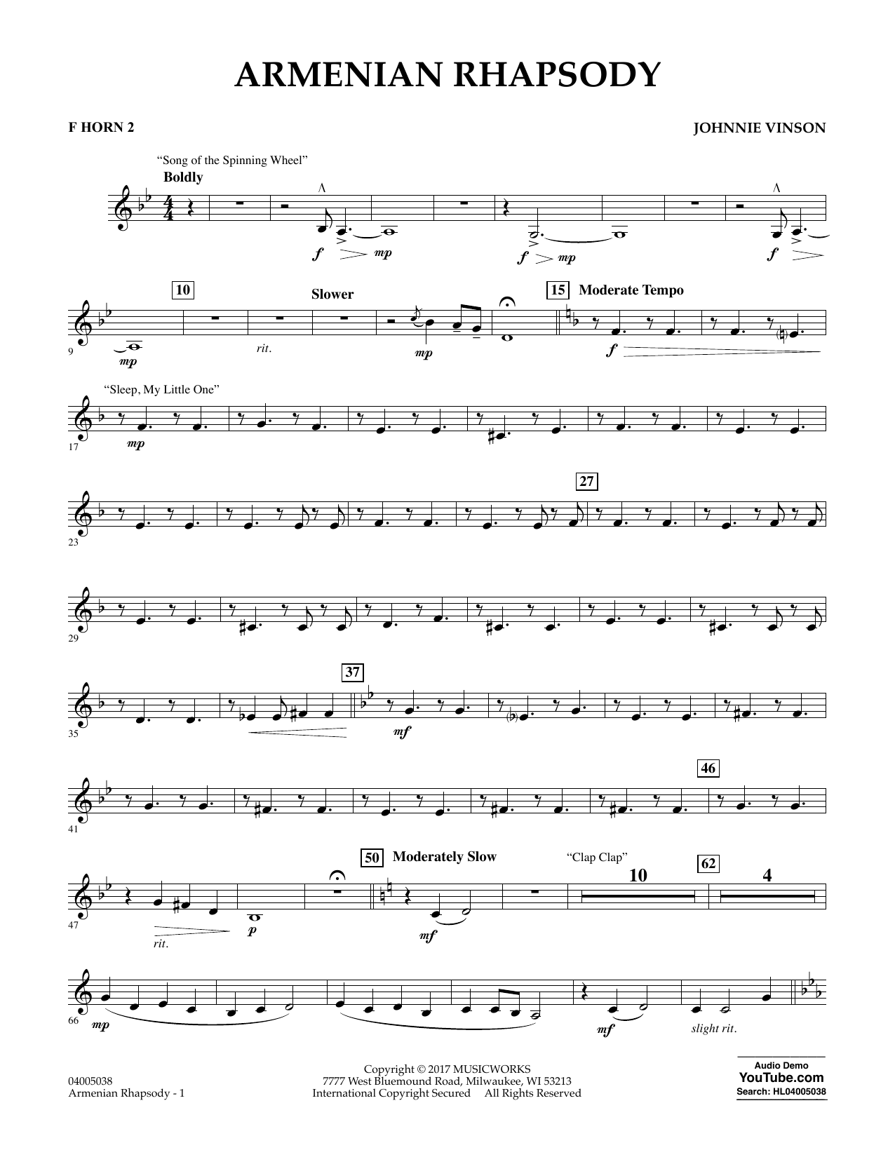 Johnnie Vinson Armenian Rhapsody - F Horn 2 sheet music notes and chords. Download Printable PDF.
