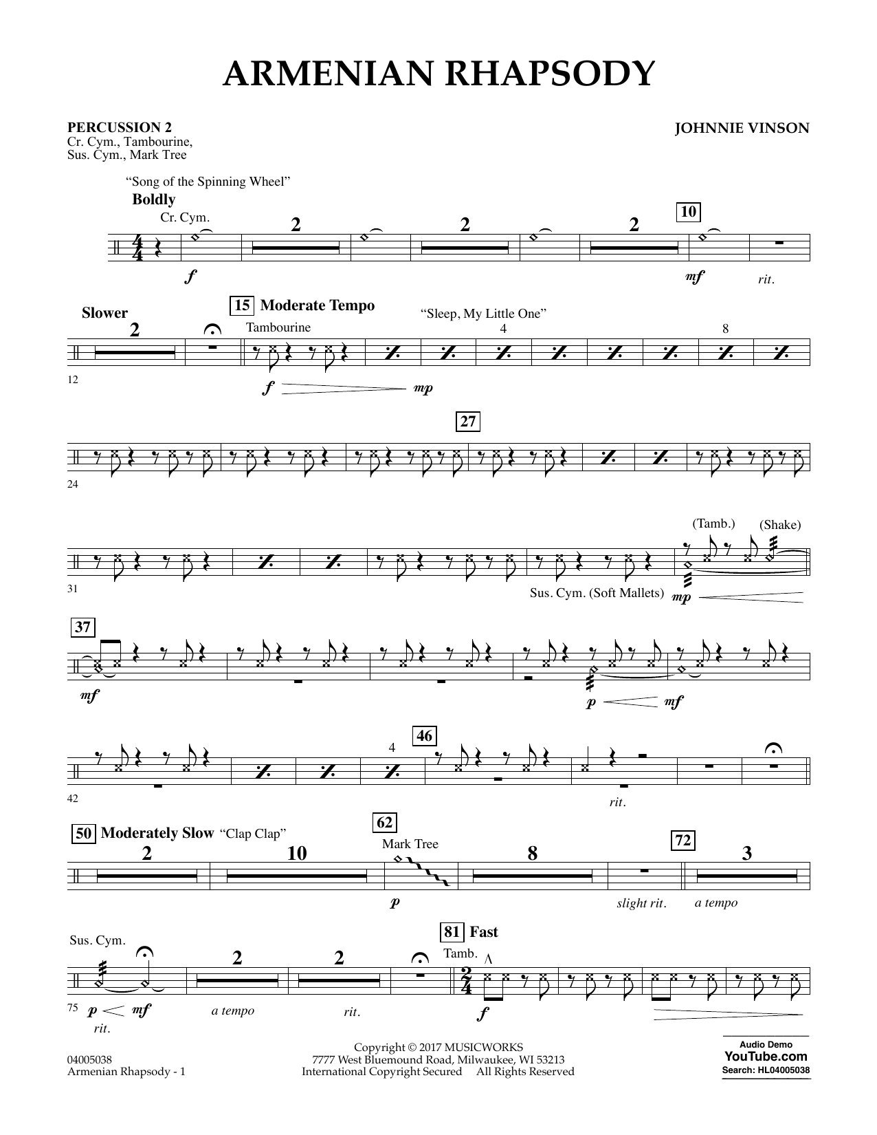 Johnnie Vinson Armenian Rhapsody - Percussion 2 sheet music notes and chords. Download Printable PDF.