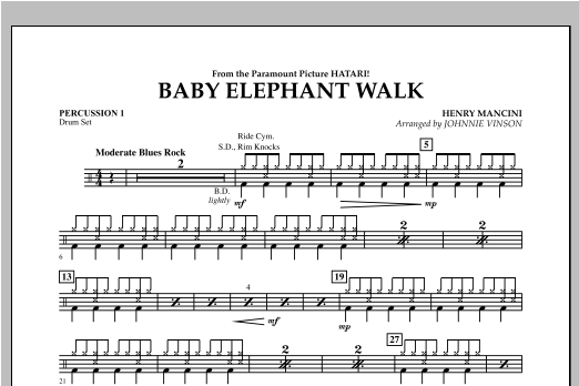 Johnnie Vinson Baby Elephant Walk - Percussion 1 sheet music notes and chords. Download Printable PDF.