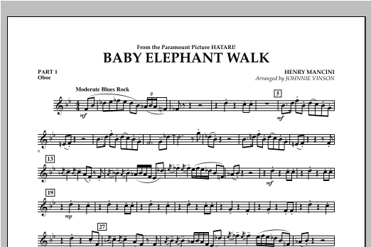 Johnnie Vinson Baby Elephant Walk - Pt.1 - Oboe sheet music notes and chords. Download Printable PDF.