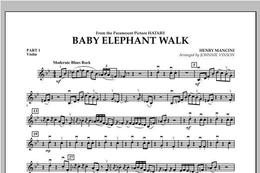 Johnnie Vinson Baby Elephant Walk - Pt.1 - Violin sheet music notes and chords. Download Printable PDF.