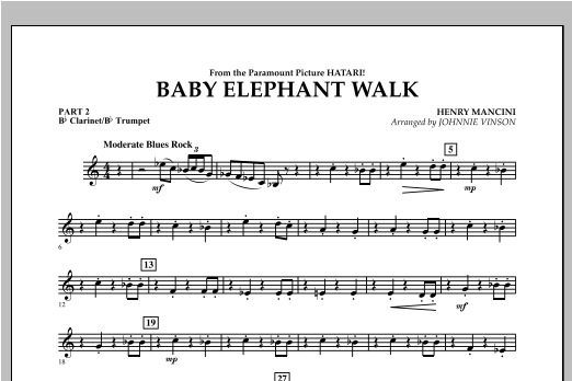 Johnnie Vinson Baby Elephant Walk - Pt.2 - Bb Clarinet/Bb Trumpet sheet music notes and chords. Download Printable PDF.