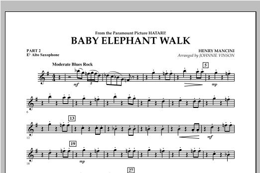 Johnnie Vinson Baby Elephant Walk - Pt.2 - Eb Alto Saxophone sheet music notes and chords. Download Printable PDF.