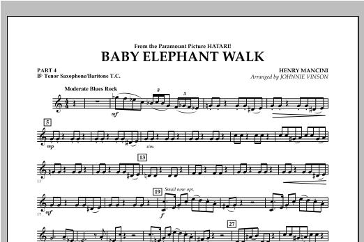 Johnnie Vinson Baby Elephant Walk - Pt.4 - Bb Tenor Sax/Bar. T.C. sheet music notes and chords. Download Printable PDF.