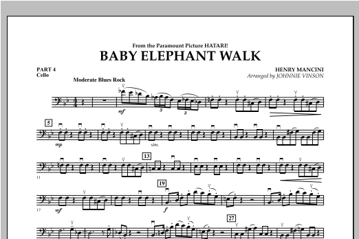 Johnnie Vinson Baby Elephant Walk - Pt.4 - Cello sheet music notes and chords. Download Printable PDF.