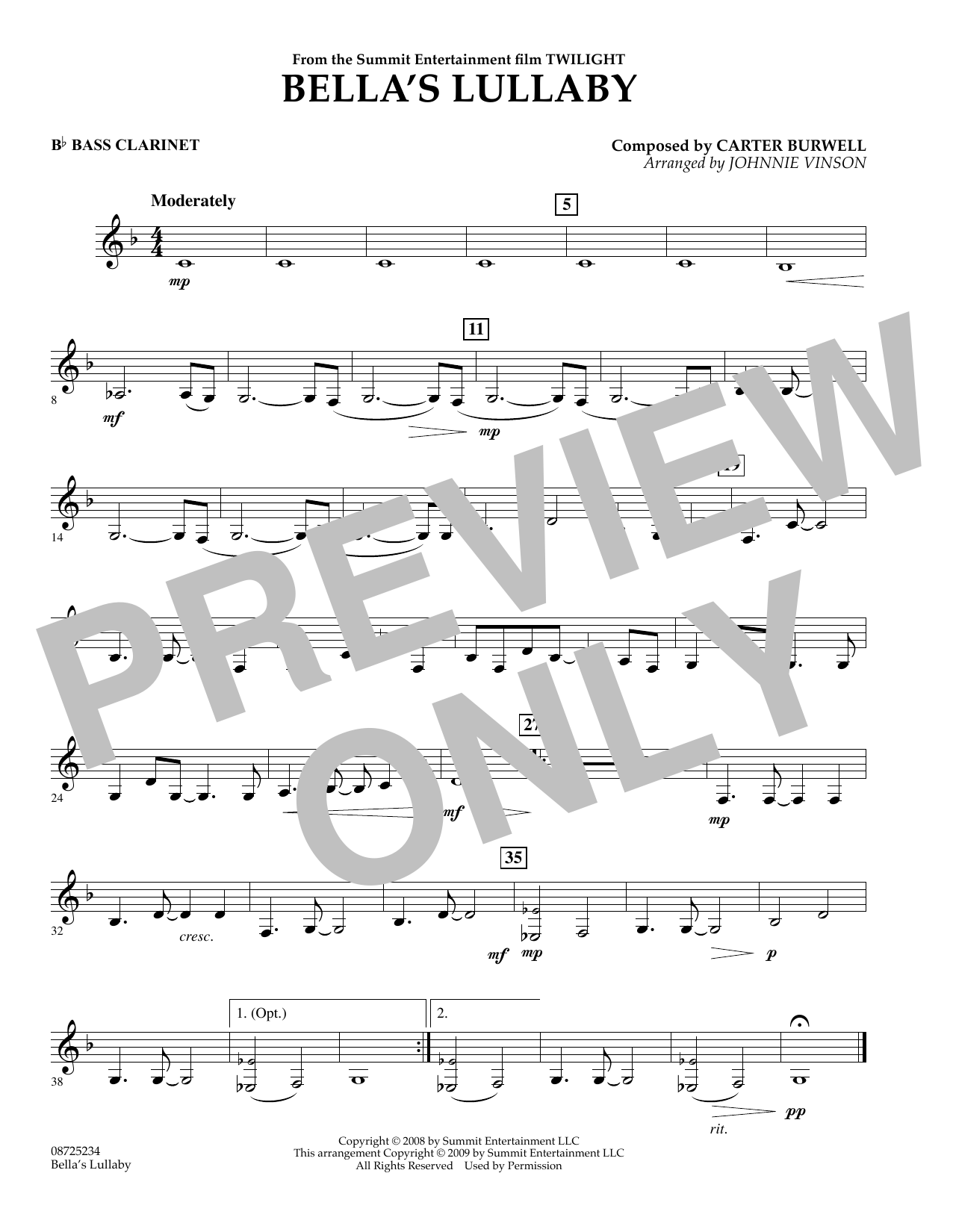 Johnnie Vinson Bella's Lullaby (from Twilight) - Bb Bass Clarinet sheet music notes and chords. Download Printable PDF.