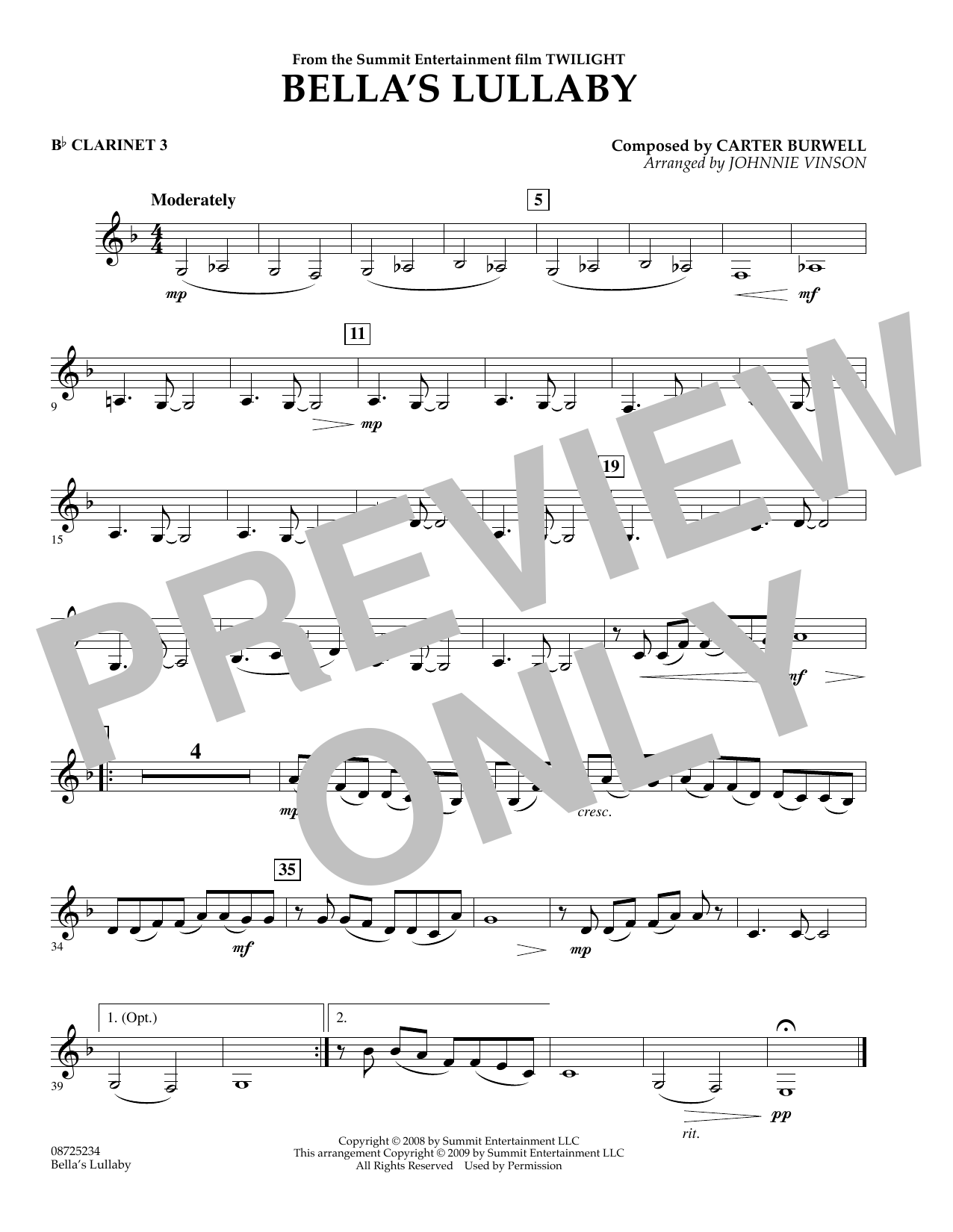 Johnnie Vinson Bella's Lullaby (from Twilight) - Bb Clarinet 3 sheet music notes and chords. Download Printable PDF.