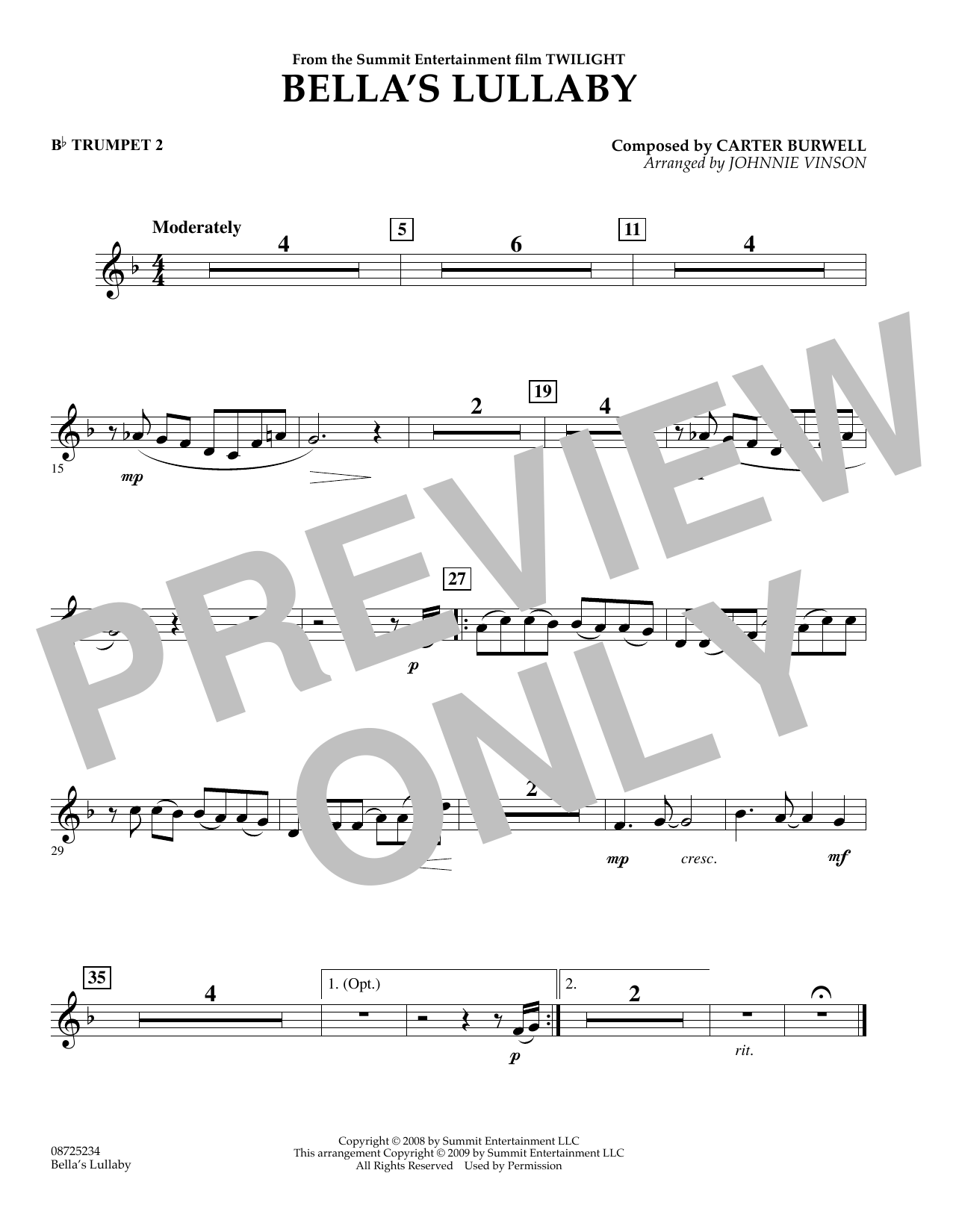 Johnnie Vinson Bella's Lullaby (from Twilight) - Bb Trumpet 2 sheet music notes and chords. Download Printable PDF.