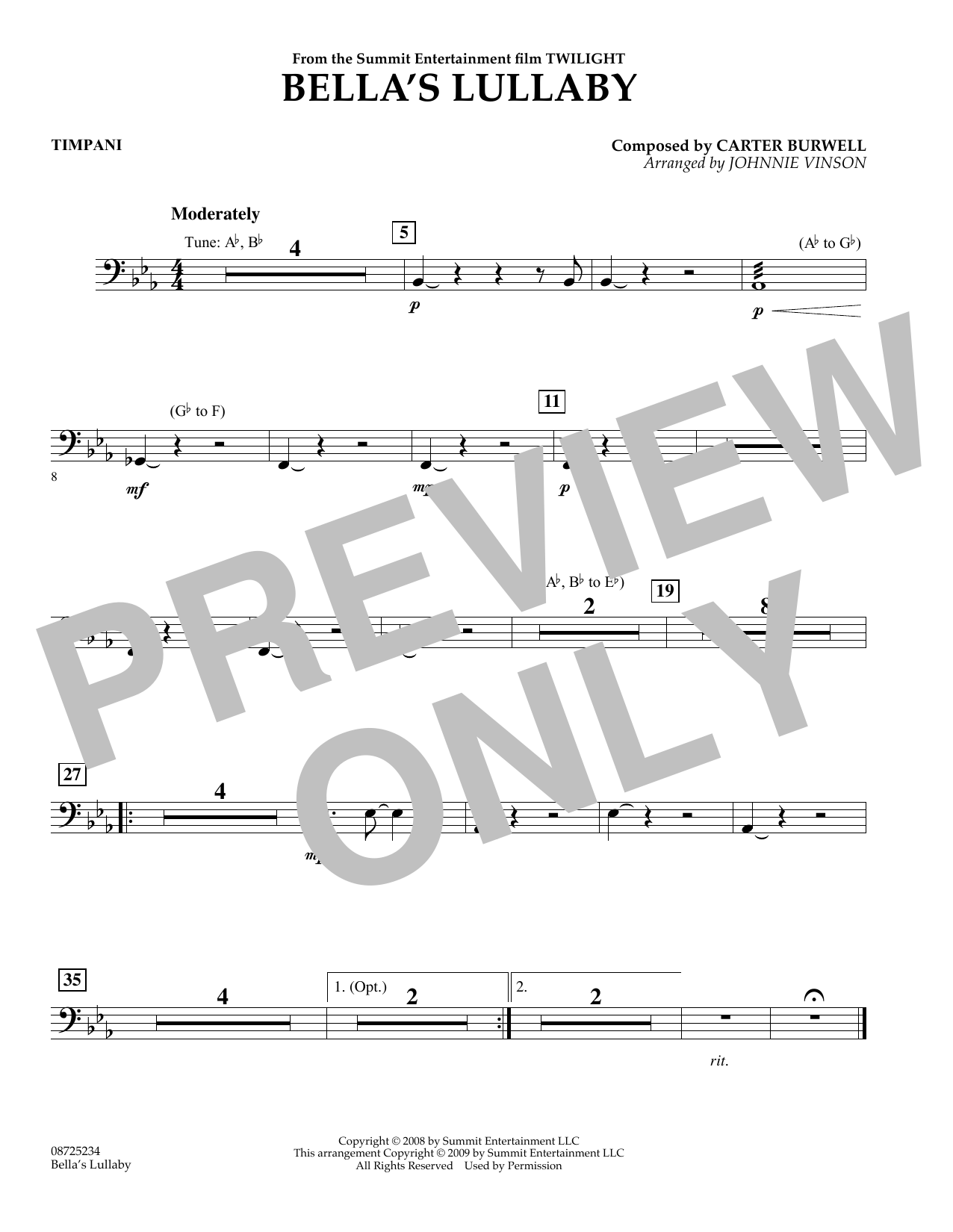 Johnnie Vinson Bella's Lullaby (from Twilight) - Timpani sheet music notes and chords. Download Printable PDF.