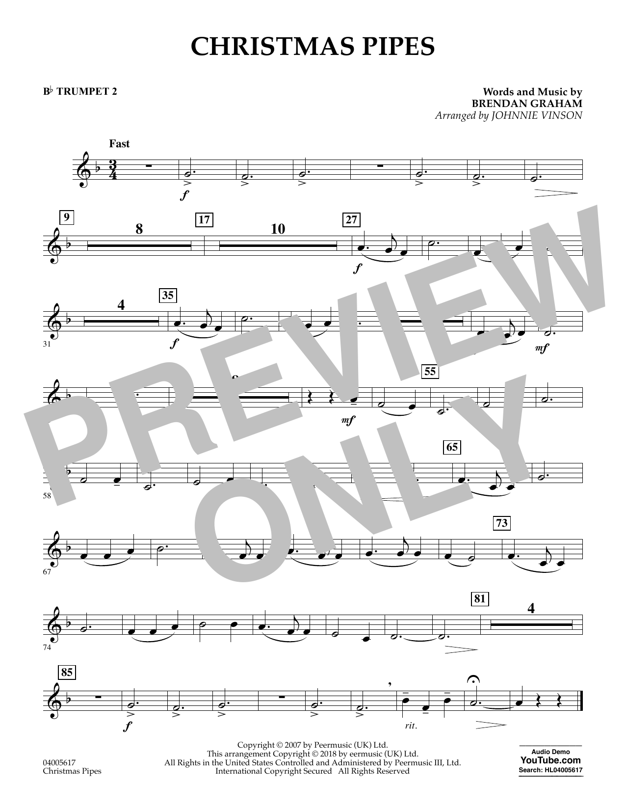 Johnnie Vinson Christmas Pipes - Bb Trumpet 2 sheet music notes and chords. Download Printable PDF.