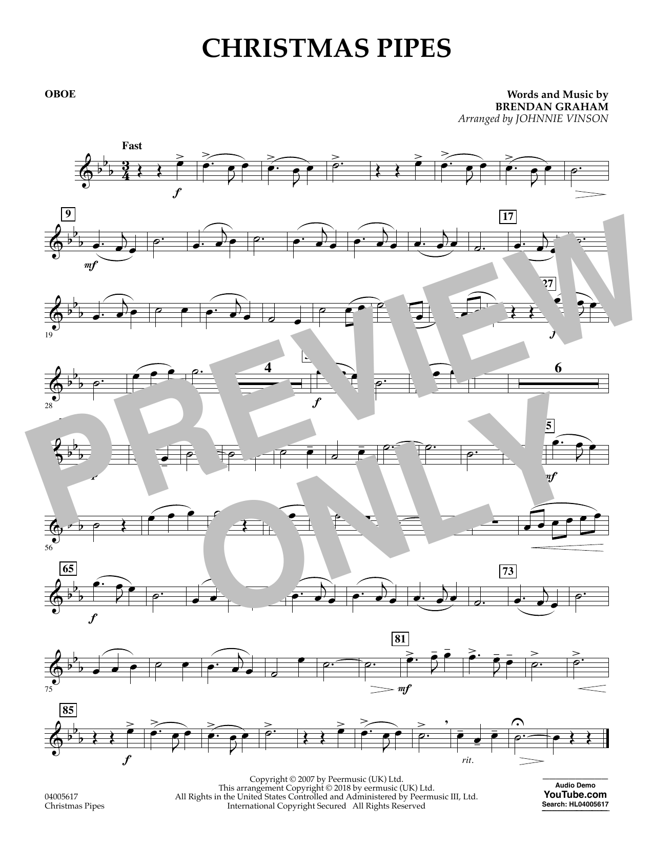 Johnnie Vinson Christmas Pipes - Oboe sheet music notes and chords. Download Printable PDF.