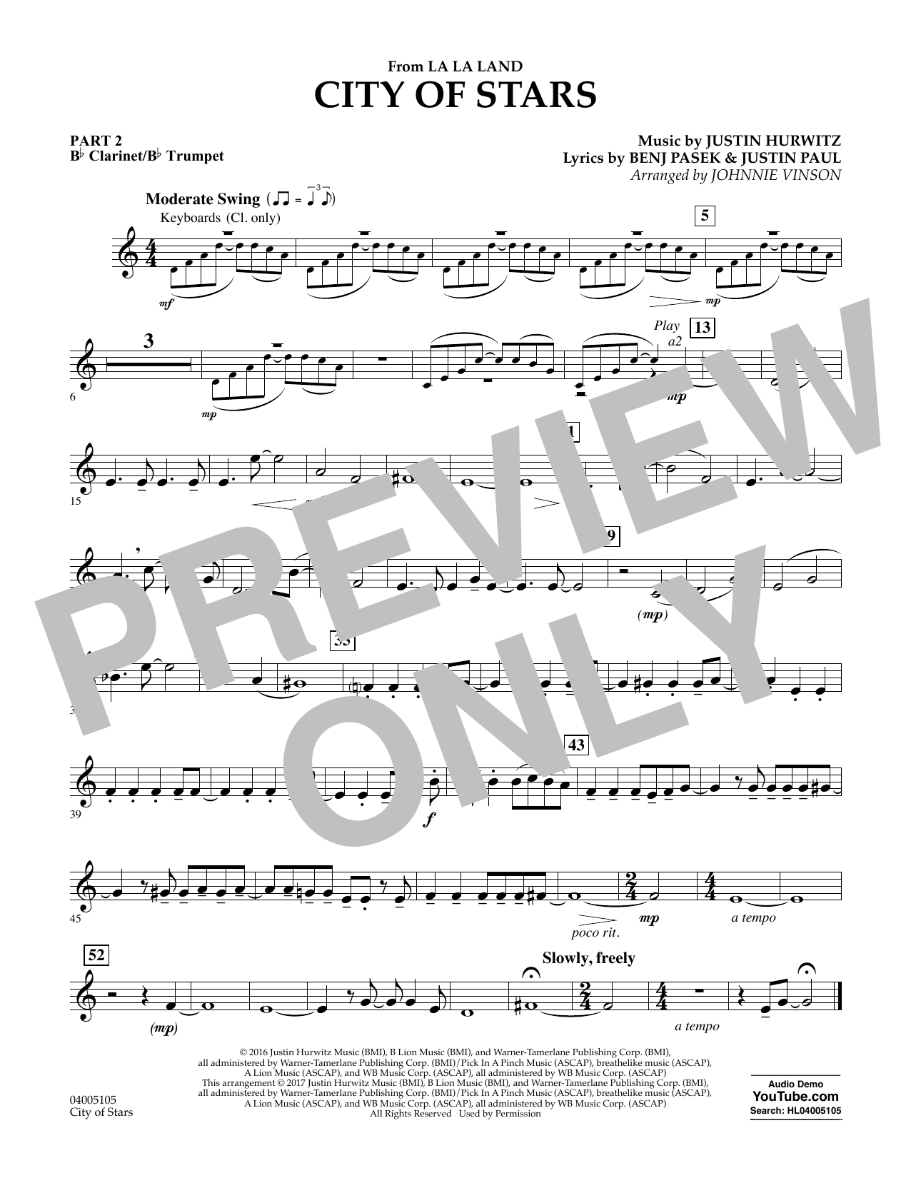 Johnnie Vinson City of Stars (from La La Land) - Pt.2 - Bb Clarinet/Bb Trumpet sheet music notes and chords. Download Printable PDF.