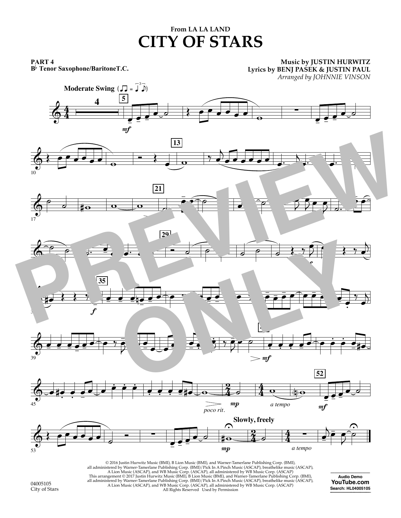 Johnnie Vinson City of Stars (from La La Land) - Pt.4 - Bb Tenor Sax/Bar. T.C. sheet music notes and chords. Download Printable PDF.