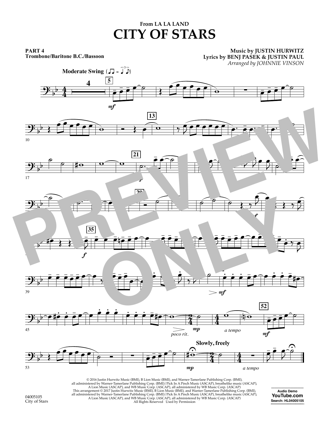 Johnnie Vinson City of Stars (from La La Land) - Pt.4 - Trombone/Bar. B.C./Bsn. sheet music notes and chords. Download Printable PDF.