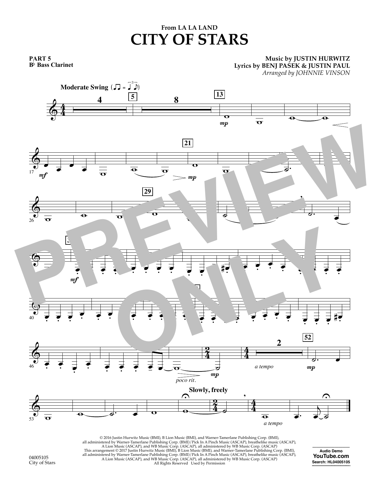 Johnnie Vinson City of Stars (from La La Land) - Pt.5 - Bb Bass Clarinet sheet music notes and chords. Download Printable PDF.