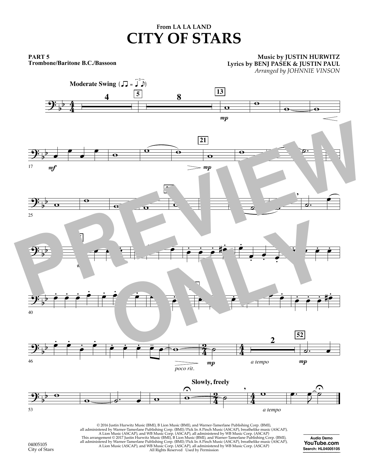 Johnnie Vinson City of Stars (from La La Land) - Pt.5 - Trombone/Bar. B.C./Bsn. sheet music notes and chords. Download Printable PDF.