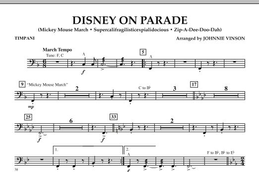 Johnnie Vinson Disney on Parade - Timpani sheet music notes and chords