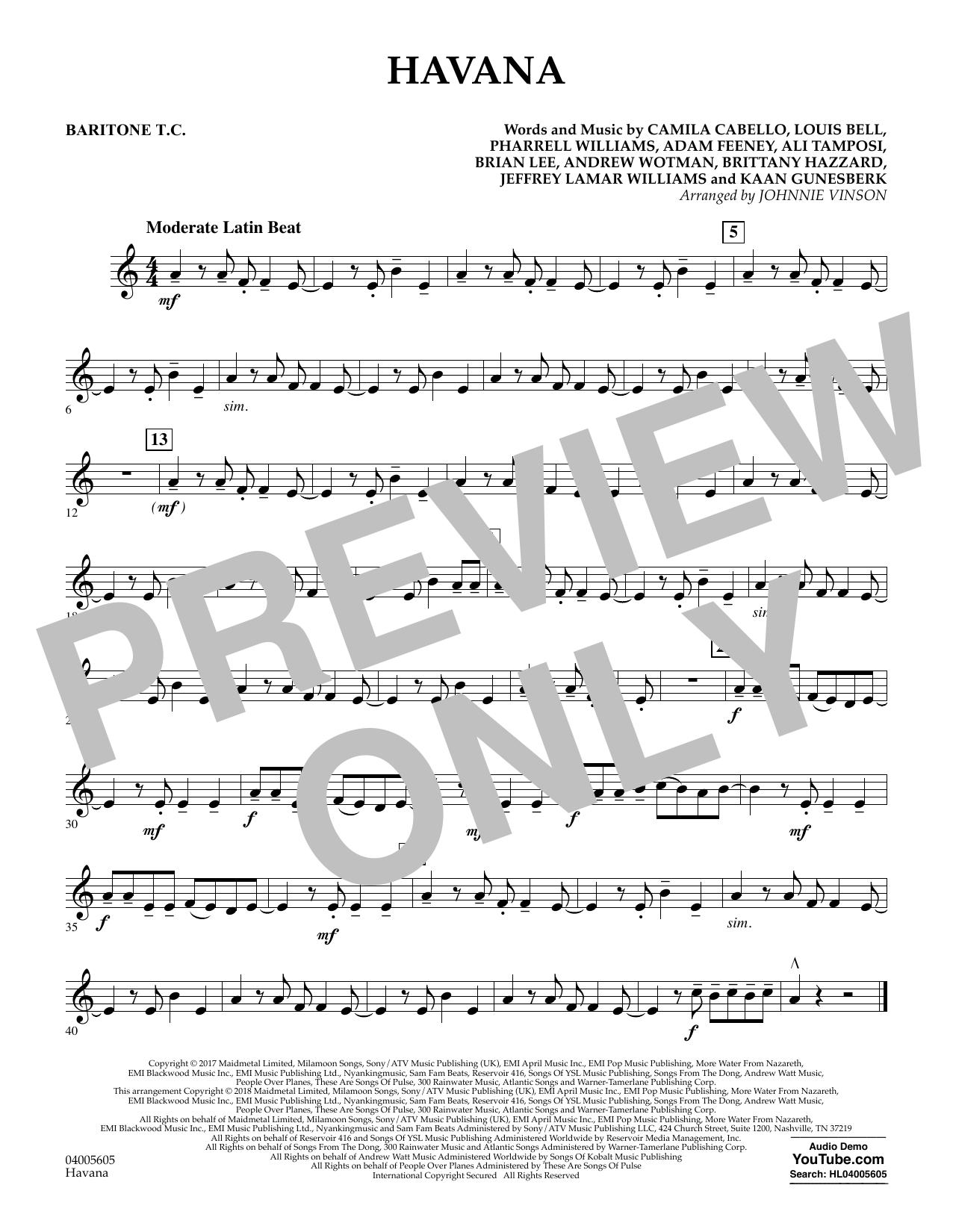 Johnnie Vinson Havana - Baritone T.C. sheet music notes and chords. Download Printable PDF.